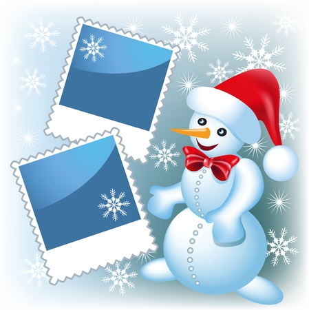 page layout: Page layout photo frame with snowman Illustration