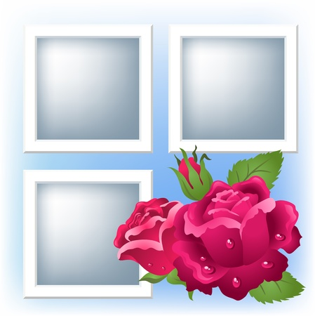 Page layout photo album with roses   Vector