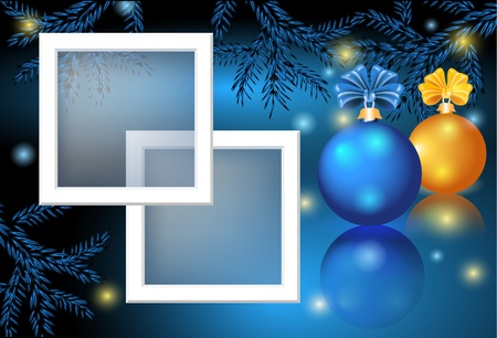 christmas fur tree: Christmas card with photo frame, blue and yellow balls Illustration