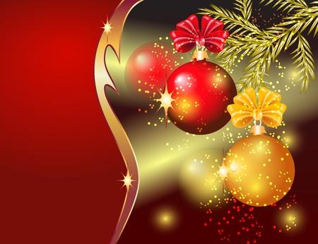 Tarjeta de Navidad con bolas rojas y amarillas