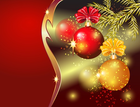 Vánoční přání s červenými a žlutými míčky Ilustrace