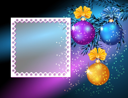 Christmas card with photo frame and balls Vector