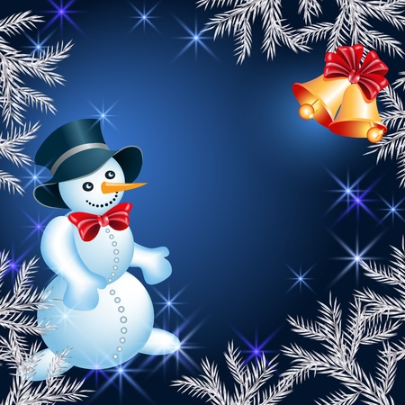 fur trees: Christmas background with  snowman and bells Illustration