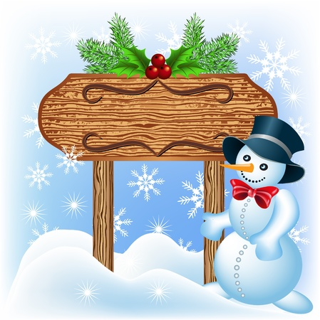 Christmas wooden signboard with Snowman Vector
