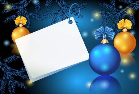 christmas blue: Christmas card with paper and balls Illustration