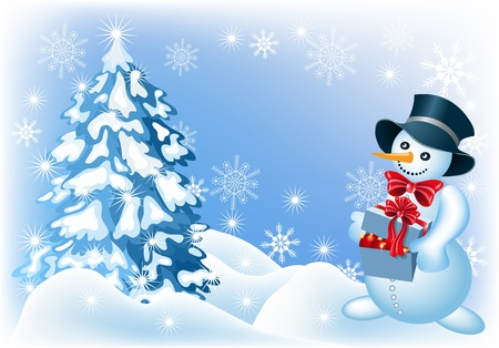 Christmas background with spruce, snowman and signboard gift box Vector
