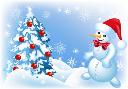 Christmas background with spruce and snowman   Vector