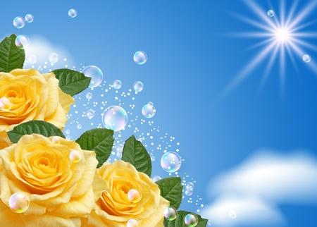 rosas amarillas: Rosa amarilla y las burbujas en el cielo Foto de archivo
