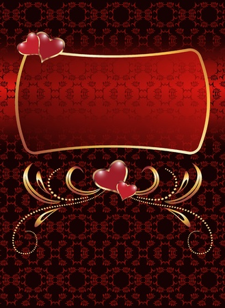 romanticism: Gold frame with hearts and ornament