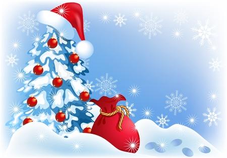 Christmas tree in santa cap
