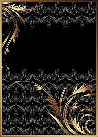 caption: Background with golden ornament for various design artwork