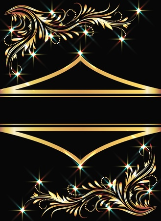 Background with golden ornament and sparkling lights Vector