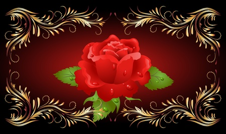 Red rose with golden ornament Vector