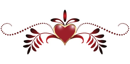 romanticism: Heart with ornament Illustration