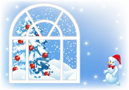 Christmas window, spruce and snowman Vector