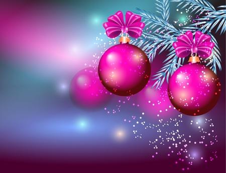 fur tree: Cartolina di Natale con le palle