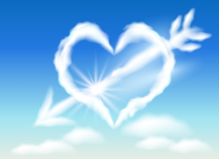 Cloud heart in the sky and arrow Vector