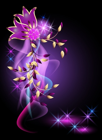 Glowing background with golden ornament Vector