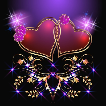flaming heart: Card with decorative hearts and stars