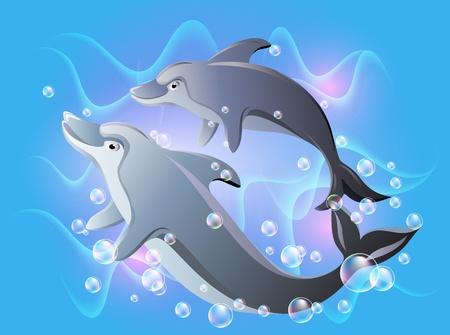 Dolphins swims in the water with air bubbles Vector