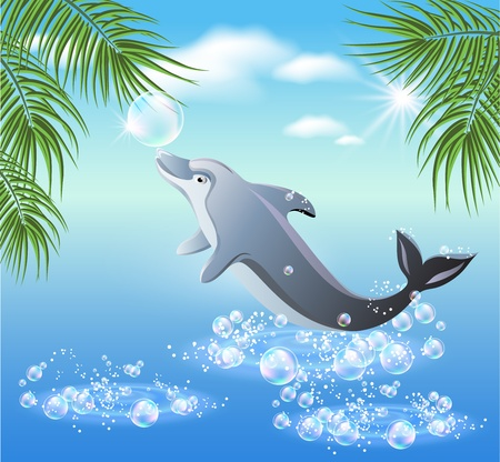 Dolphins leaps from water on the background of clouds and palms Vector