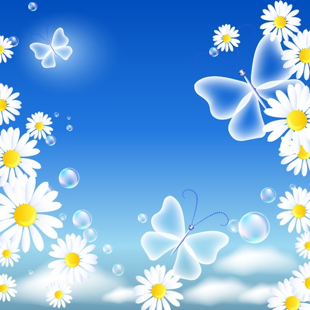 Butterflies and daisy in the sky Stock Vector - 11968665