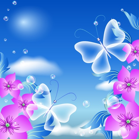 Butterflies and flowers in the sky Vector