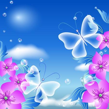 mariposa azul: Mariposas y flores en el cielo Vectores