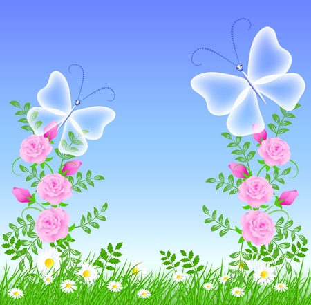 Roses on the green grass and butterflies Vector