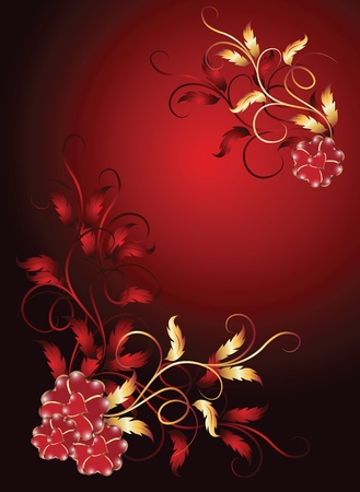 romanticism: Background with golden ornament