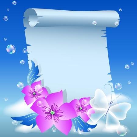 하늘에 양피지와 꽃 일러스트