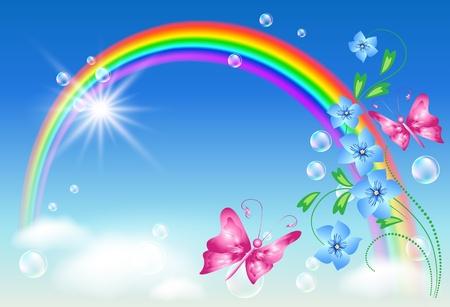 Arco iris, flores y mariposas Ilustración de vector