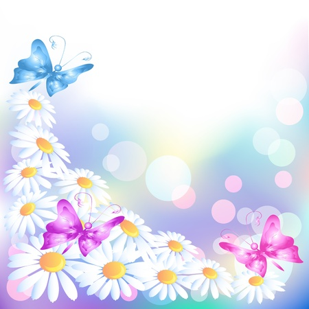 Flowers background with butterflies Vector