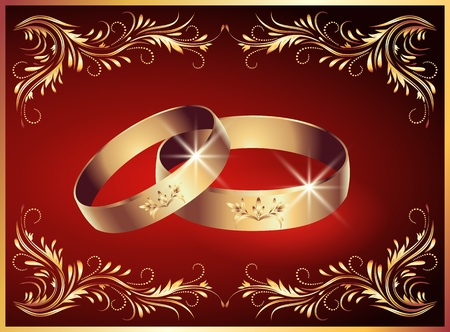 Card with wedding rings Vector