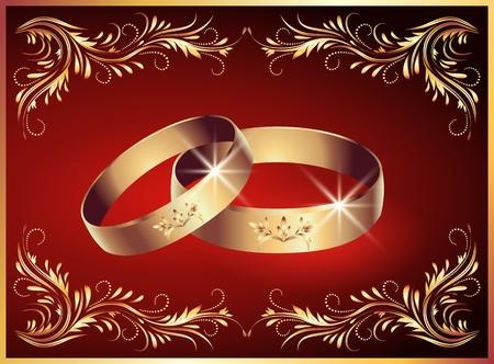 fire ring: Tarjeta con anillos de boda
