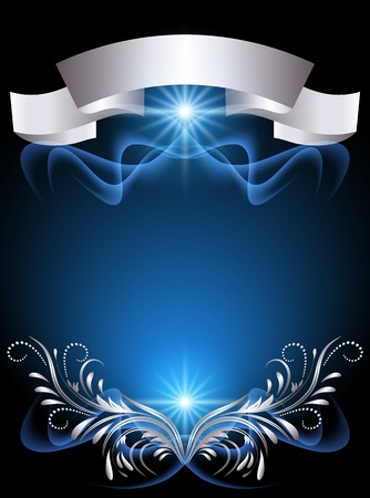 Background with glowing star and silver ornament Stock Vector - 12167669