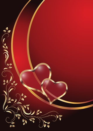 flaming heart: Hearts with ornament. Illustration