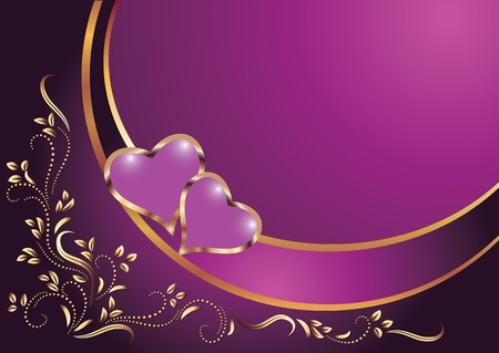 romanticism: Hearts with ornament. Illustration