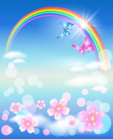 mariposa azul: Arco iris Vectores