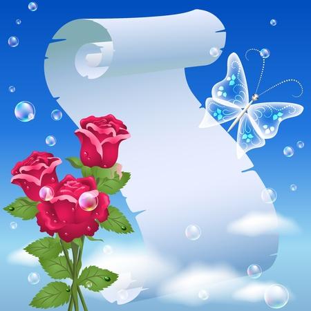 Parchmen y rosas en el cielo Ilustración de vector