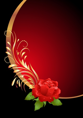 Red rose with golden ornament Stock Vector - 12168638