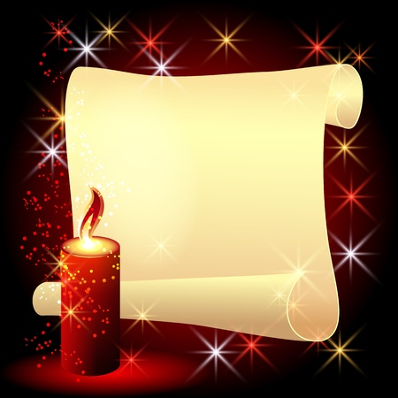 Folded parchment and a burning candle on red background Vector