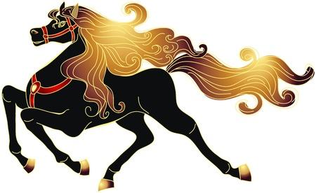 merrie: Galopperen zwart paard met gouden manen