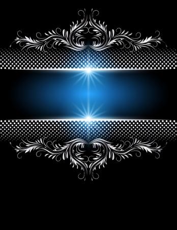 Achtergrond met gloeiende sterren en zilveren ornament