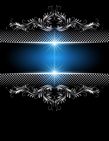 Background with glowing stars and silver ornament   Vector