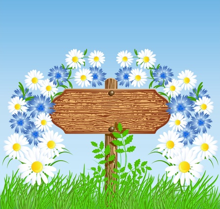 Wooden signboard on the meadow with flowers Stock Vector - 12168701