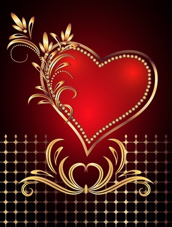 romanticism: Card with decorative hearts