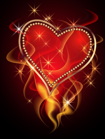 heart in flame: Burning heart with decorative smoke Illustration