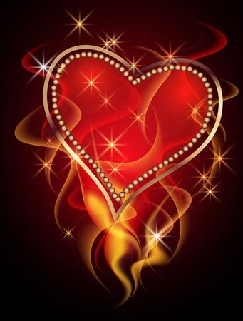 burning heart: Burning heart with decorative smoke Illustration