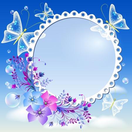mariposa azul: Marco para fotos con flores y mariposas